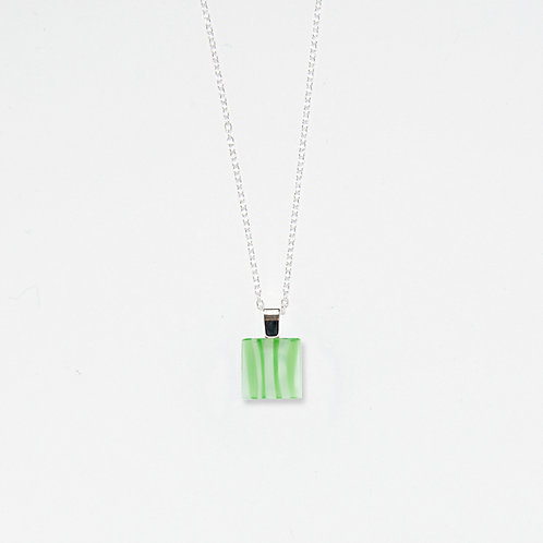 Square Spearmint Pendant Necklace