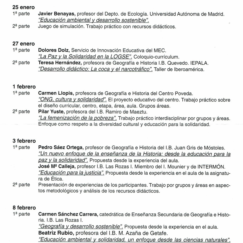 Ponentes del Seminario de Intermón.