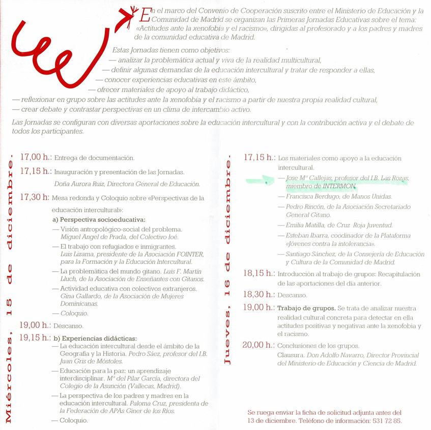 Programa Jornada sobre Racismo 1993