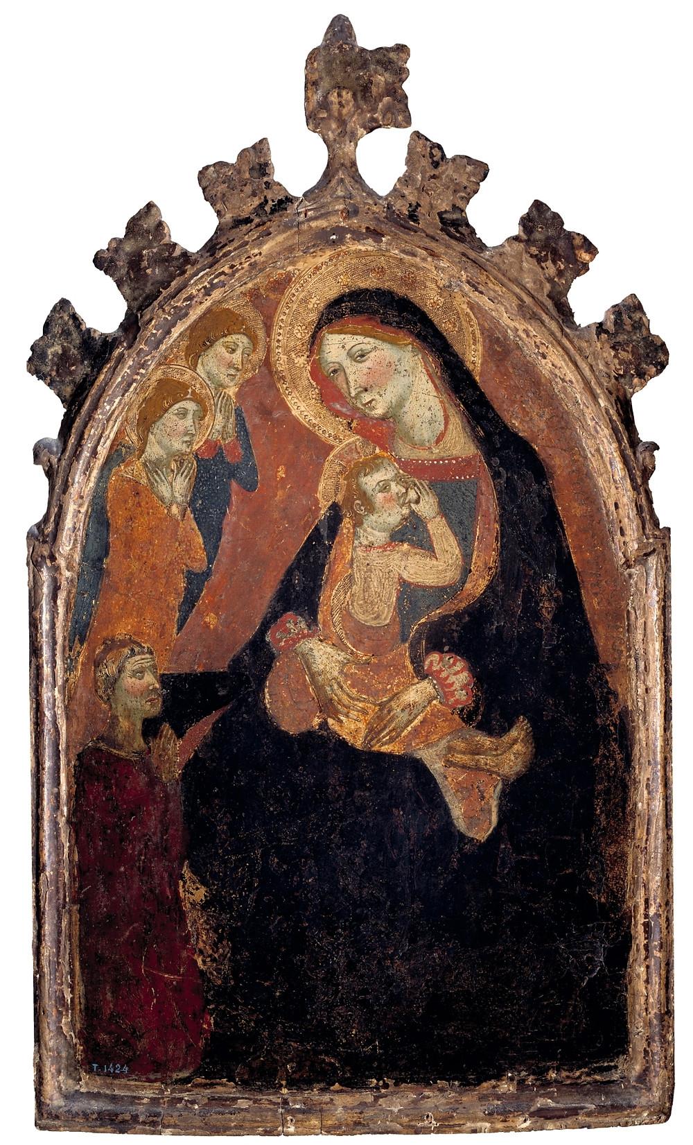 La Virgen de la Humildad con donante. Serra, hermanos, y Destorrens, Ramón (atribuido a ambos). Museo del Prado. Tabla s. XIV.