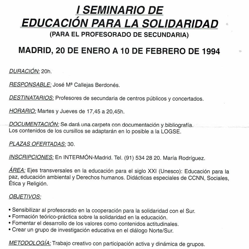 Educación para la Solidaridad. 1994.