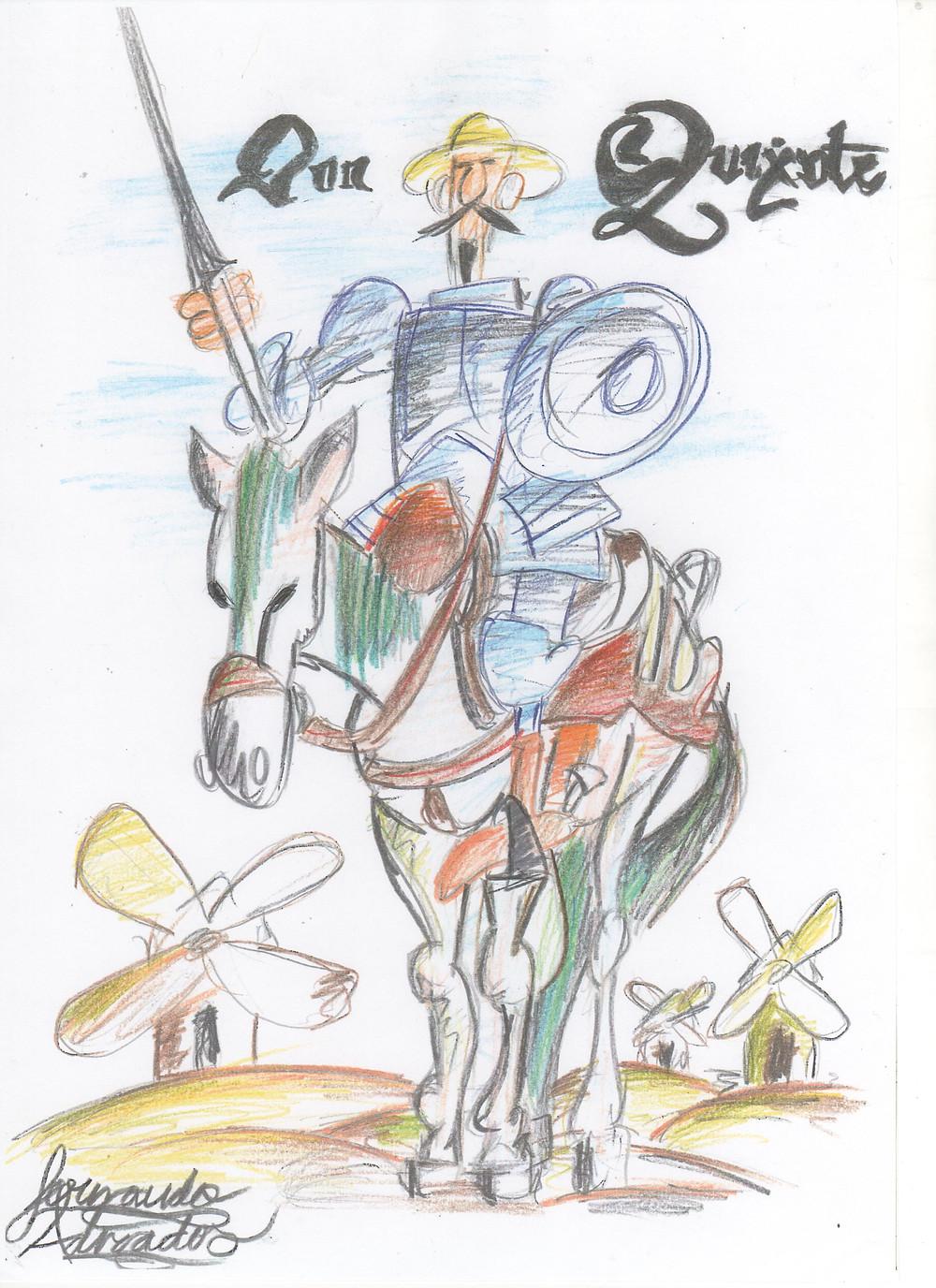 Fotocopia del dibujo original del alumno Fernando Adrados (inspirado en Mingote).
