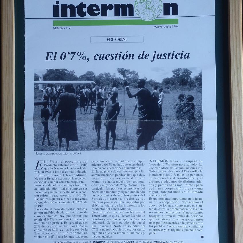 Boletín de Intermón dedicado al 0,7