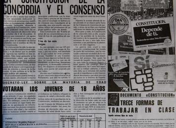 La enseñanza de la Constitución Española de 1978. Prensa didáctica. Periódico YA.