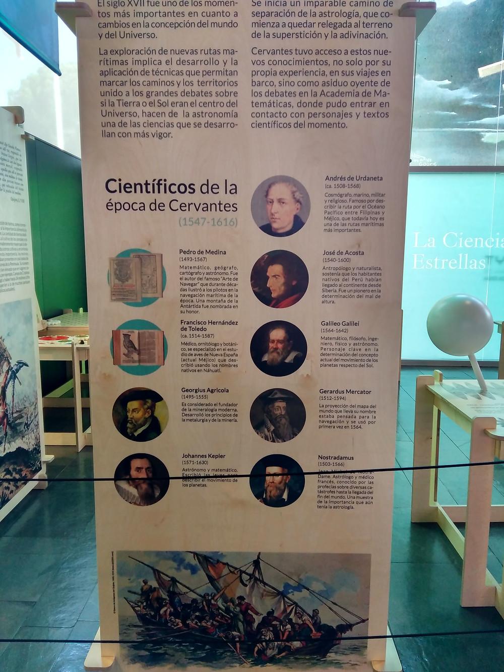 Cervantes, Tratar el Universo Todo, exposición pedagógica. Museo Nacional de Ciencia y Tecnología de Alcobendas. Madrid.