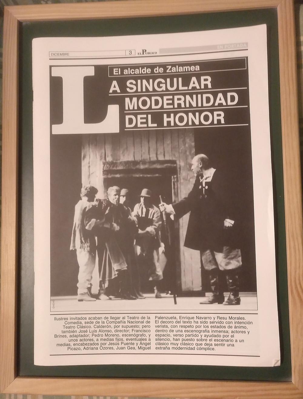 Dirección, adaptación, reparto de actores y escenografía de El Alcalde de Zalamea de Calderón de 1988.