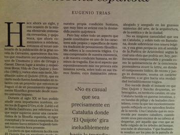 <DON QUIJOTE Y LA FILOSOFÍA ESPAÑOLA>. Eugenio Trías. Filósofo. Profesor de la Universidad Pom