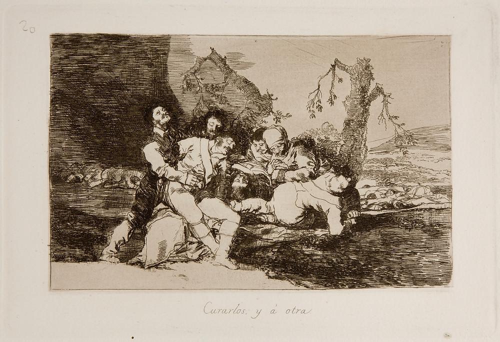 """Grabado de Los desastres de la guerra, bajo el lema: """"Curarlos, y a otra"""". Francisco de Goya. 1810."""
