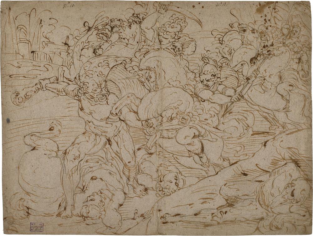 Batalla entre Hércules y las Amazonas (ha de apoderarse del cinturón de la reina de las Amazonas, Hipólita). Luca Cambiaso. Moneglia, Liguria, 1527-El Escorial, Madrid, 1585. Museo del Prado.