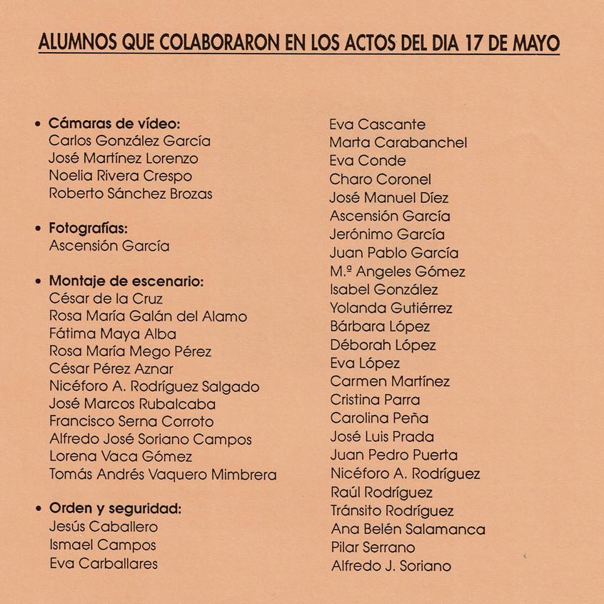 Lista de los alumnos participantes.