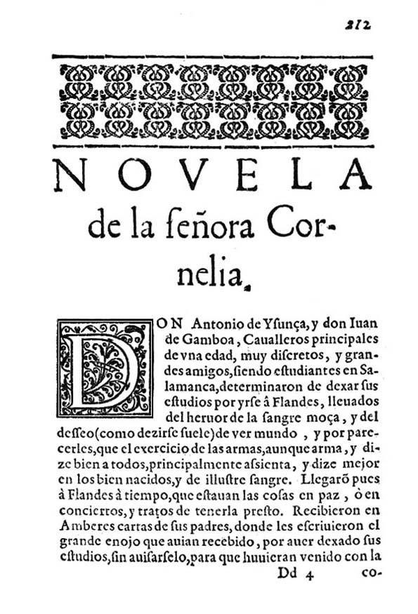 Portada original de la novela La señora Cornelia. Miguel de Cervantes.