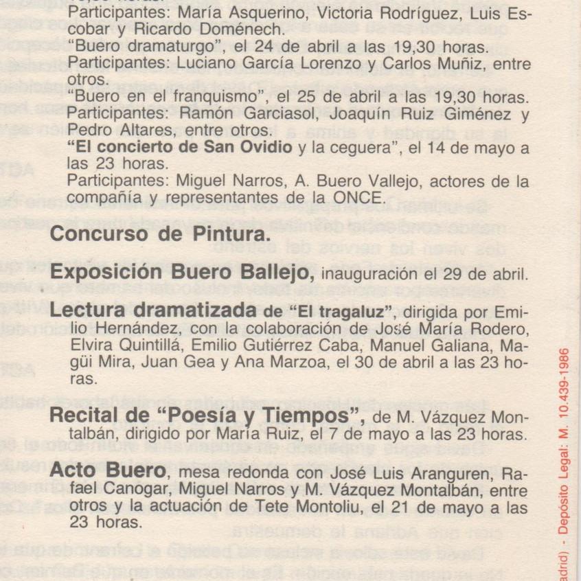 Otras actividades sobre Buero. 1986.
