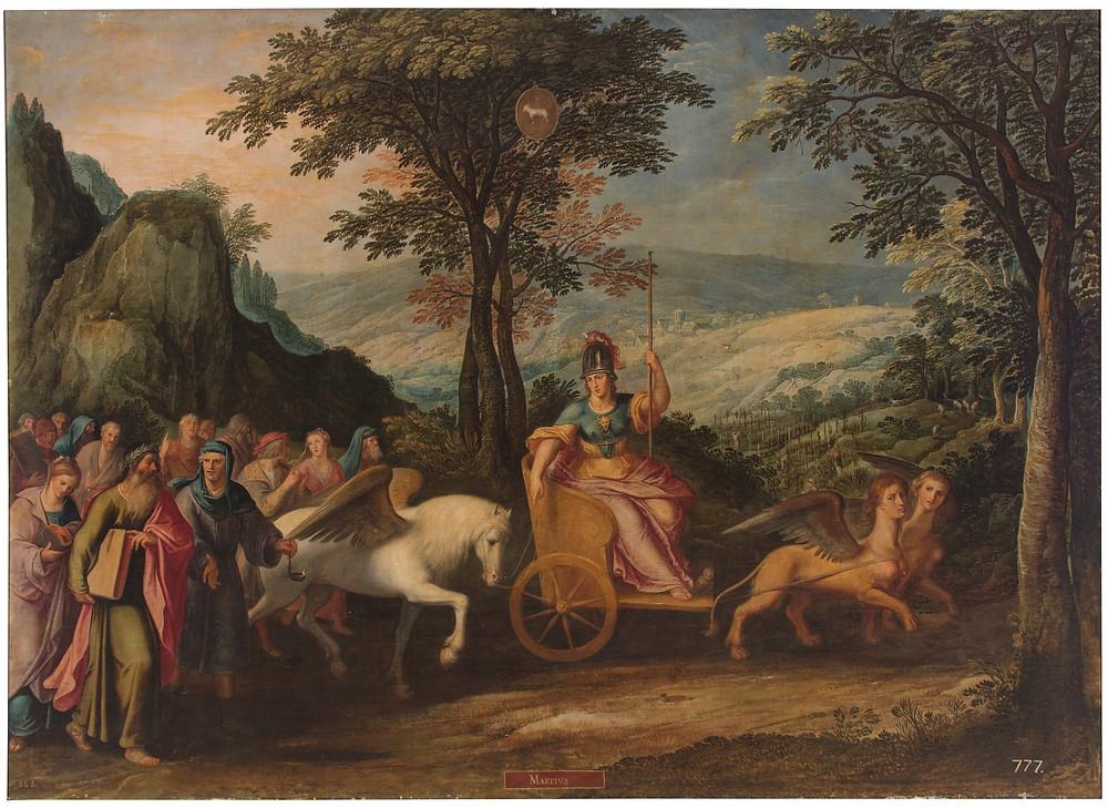Alegoría del mes de Marzo con el triunfo de Minerva y el signo de Aries. Anónimo. Finales del siglo XVI. Museo del Prado.