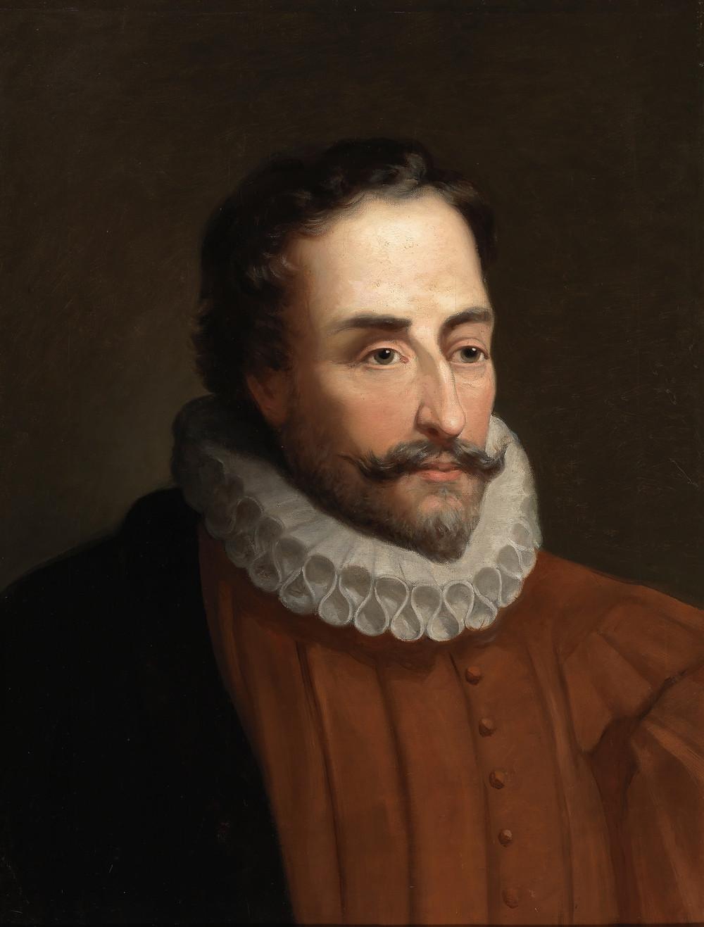 Retrato de Miguel de Cervantes Saavedra de Juan de Jauregui. Foto de la exposición de 2016 en la BNE.