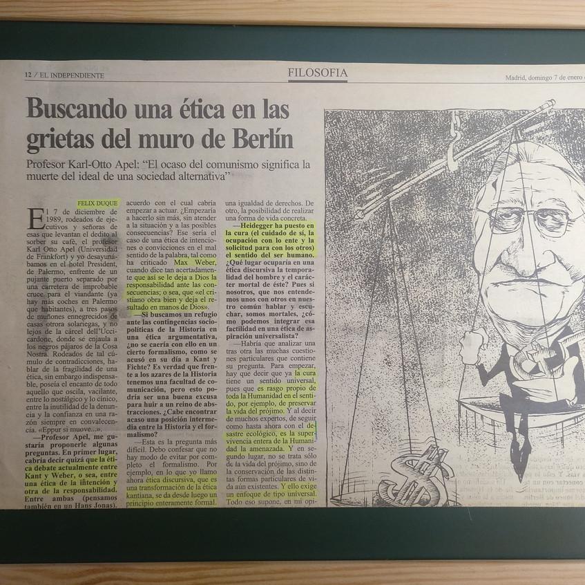 K. O. Apel. El Independiente, p. 12a