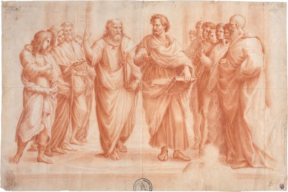 La escuela de Atenas. Dibujo en sanguina sobre papel amarillento. Anónimo (copia de Rafael). Museo del Prado.