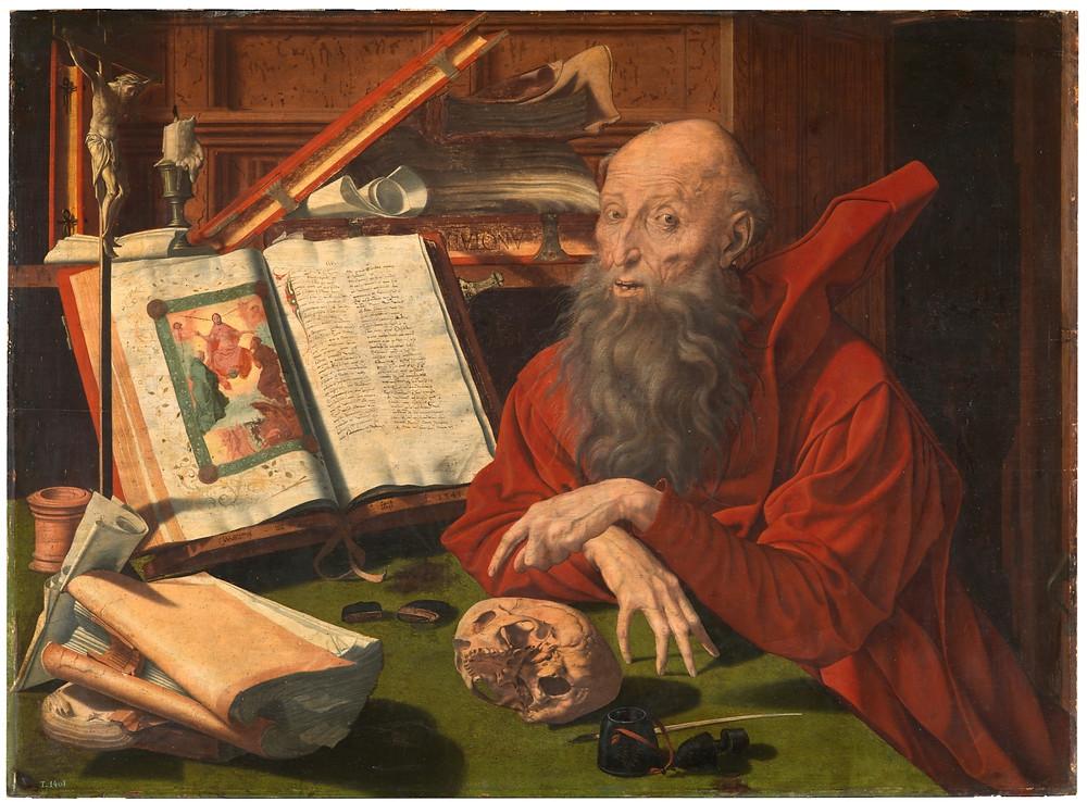 San Jerónimo. Marinus van Reymerswaele Reimerswaal (Países Bajos), 1490 - Goes (Países Bajos), 1567. Museo del Prado. Desde el siglo XV San Jerónimo se convierte en patrón de los hombres de letras y, junto a su imagen de penitente en el desierto, también se le representa en el estudio, en su condición de intelectual.