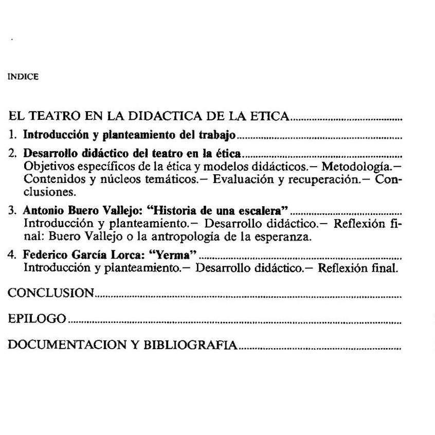 Índice de la obra El teatro educa II