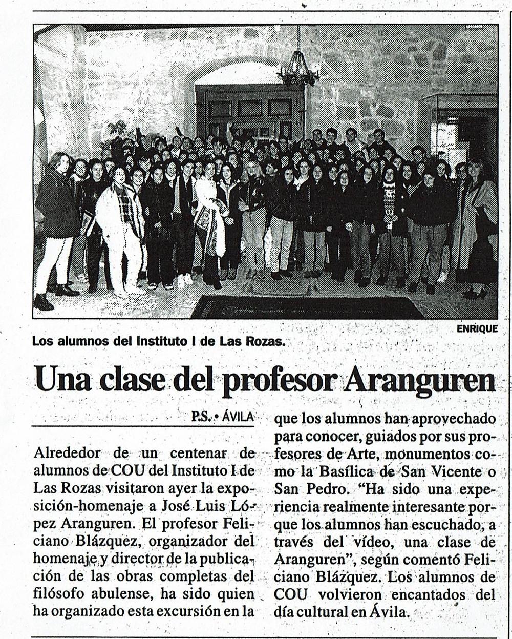 Homenaje al profesor Aranguren en Ávila, noviembre de 1997. Feliciano a la derecha de la foto.