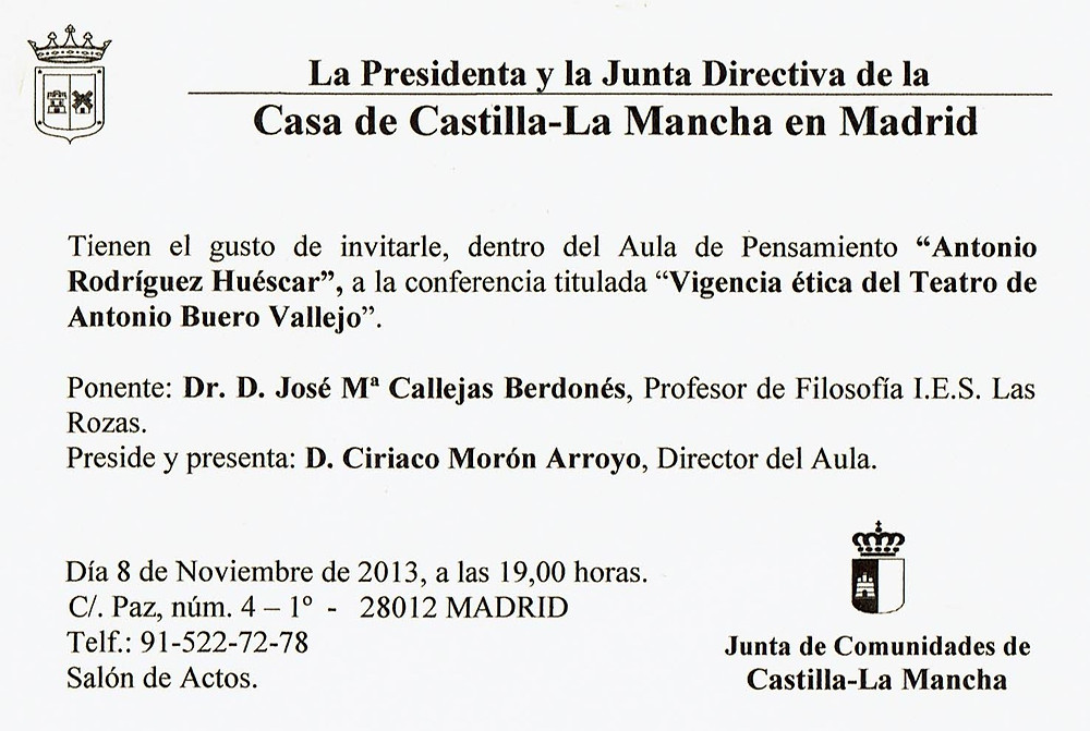 Texto conferencia en PDF Vigencia ética del teatro de Antonio Buero Vallejo.