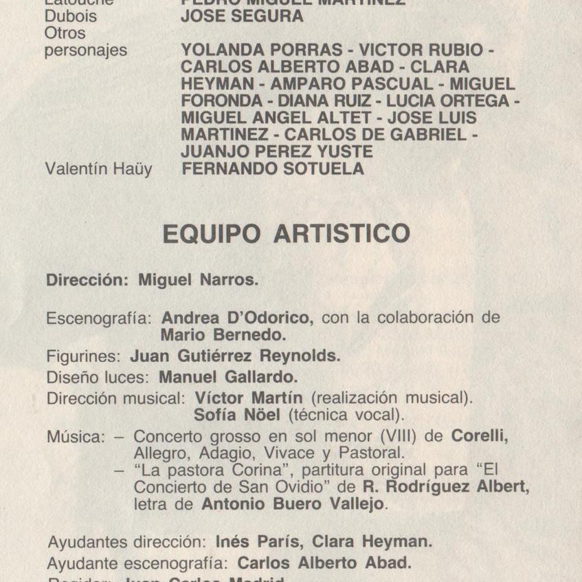 Reparto y equipo artístico. 1986.