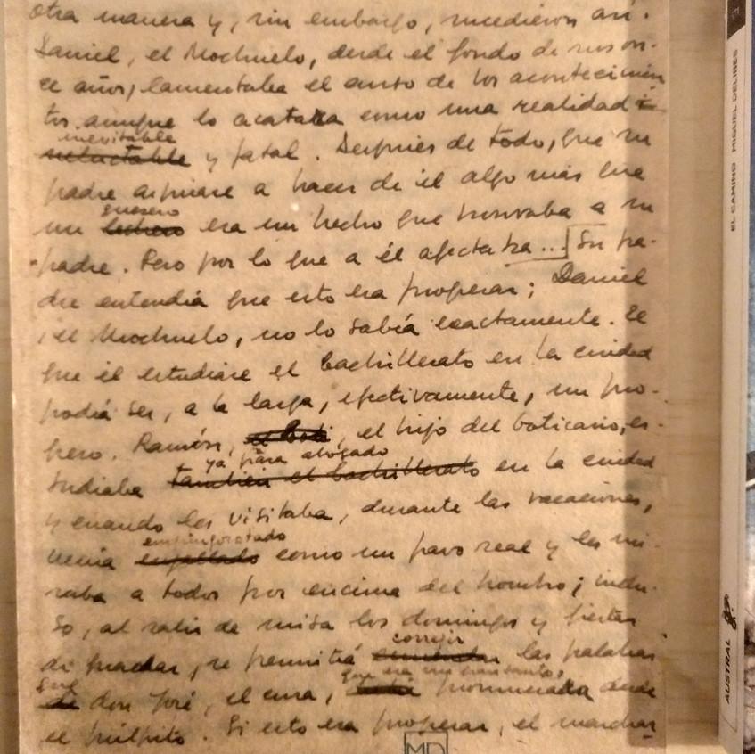 Manuscrito original Miguel Delibes.