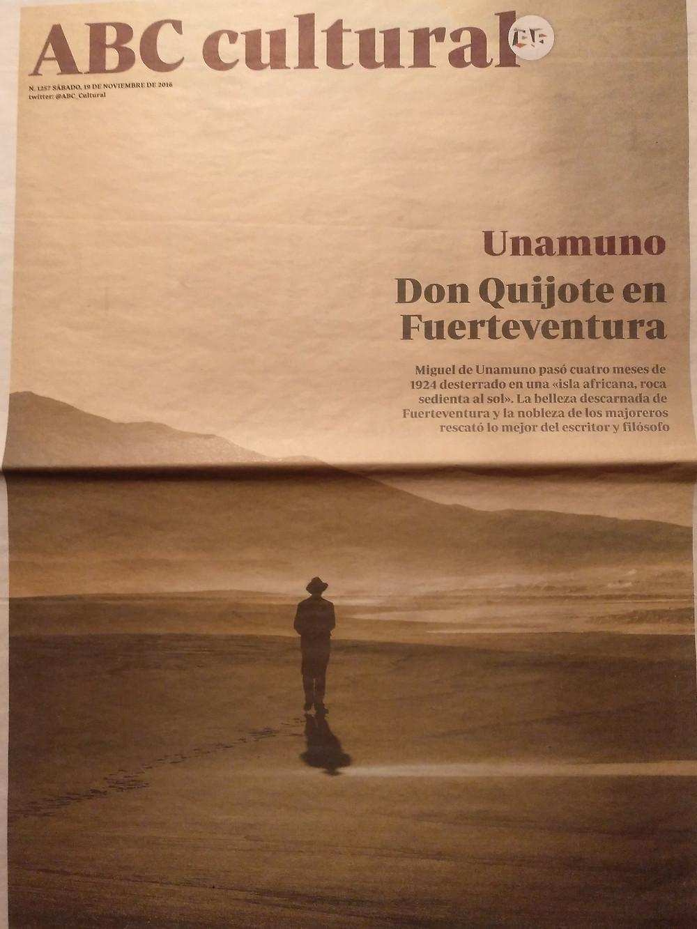 Portada del ABC Cultural sobre la película <La isla del viento> y el destierro de Unamuno.