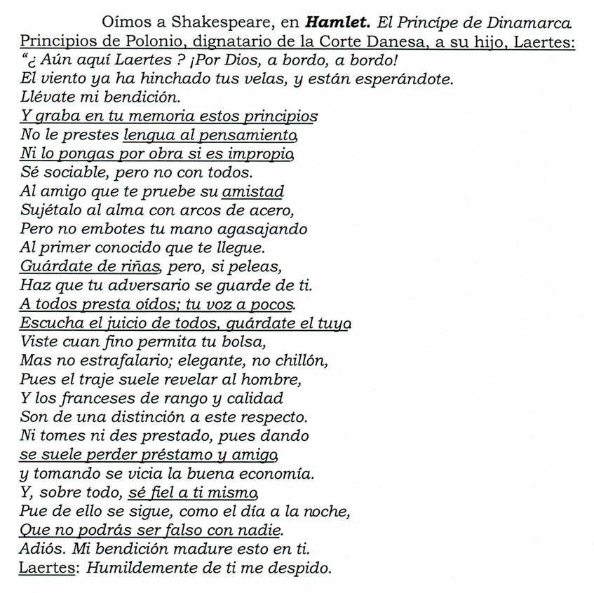 Consejos de Polonio a su hijo Laertes