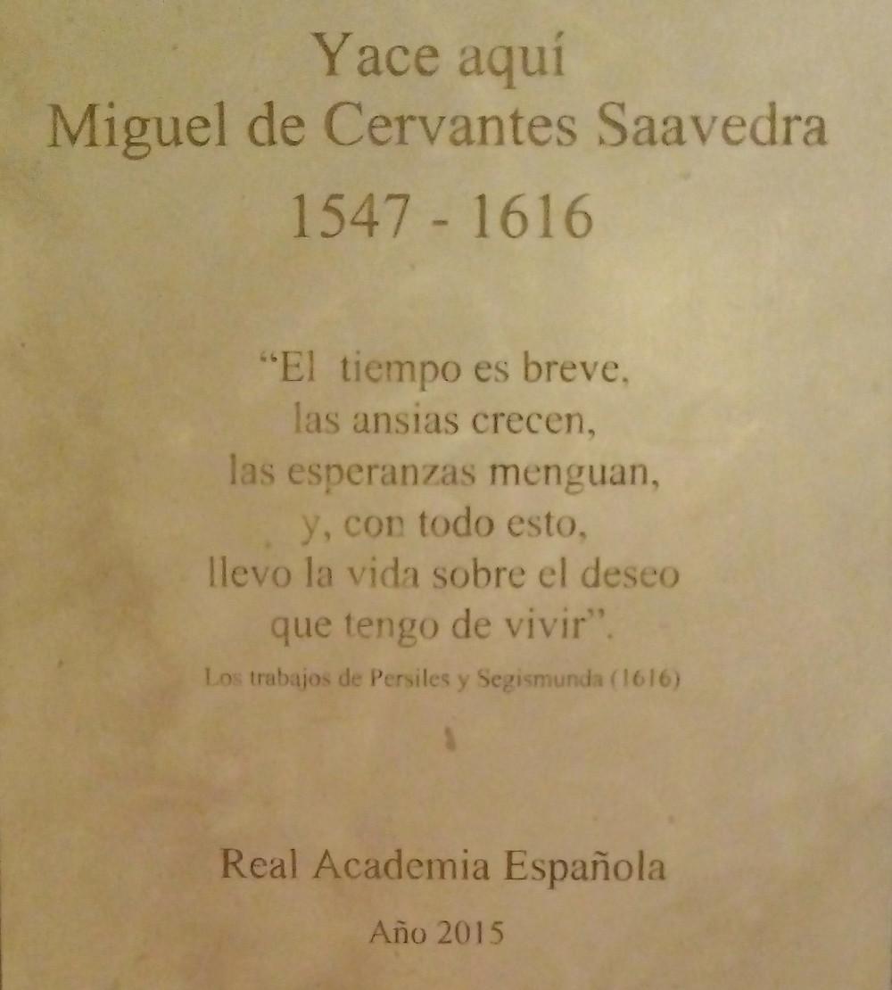 Texto del Persiles en la lápida de Cervantes. Iglesia de las Trinitarias. Madrid.