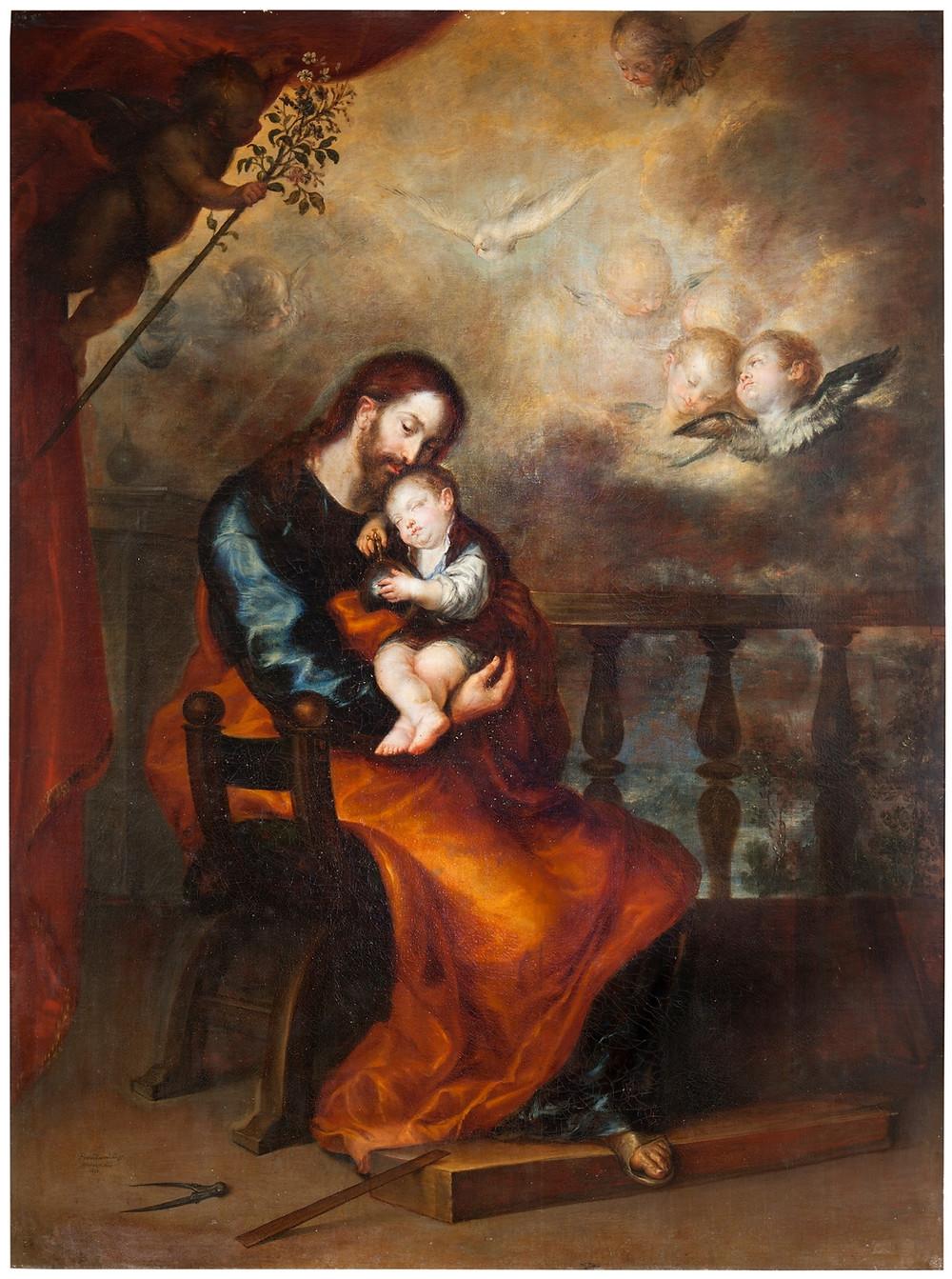 San José con el Niño dormido en brazos. Camilo, Francisco Madrid,1615-1673. Prado.