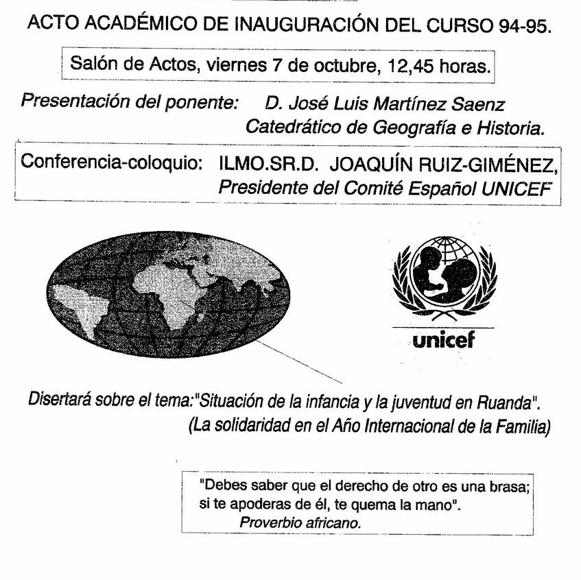 Acto de inauguración. Curso 1994-95.