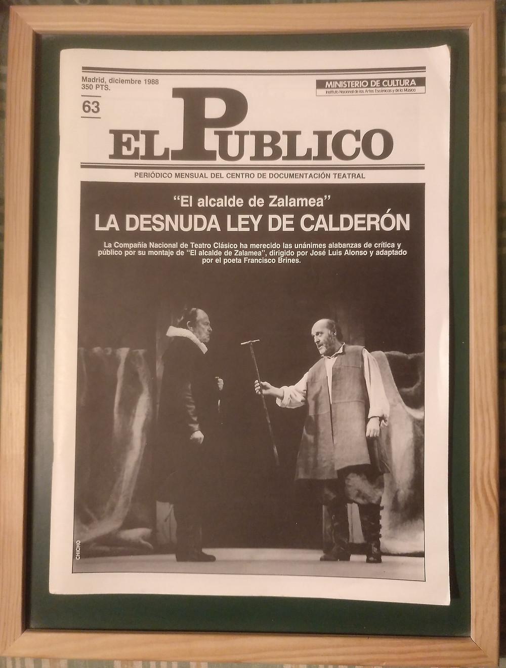 El Público. Diciembre de 1988. Nº63. Periódico Mensual del Centro de Documental Teatral. Ministerio de Cultura. Madrid.
