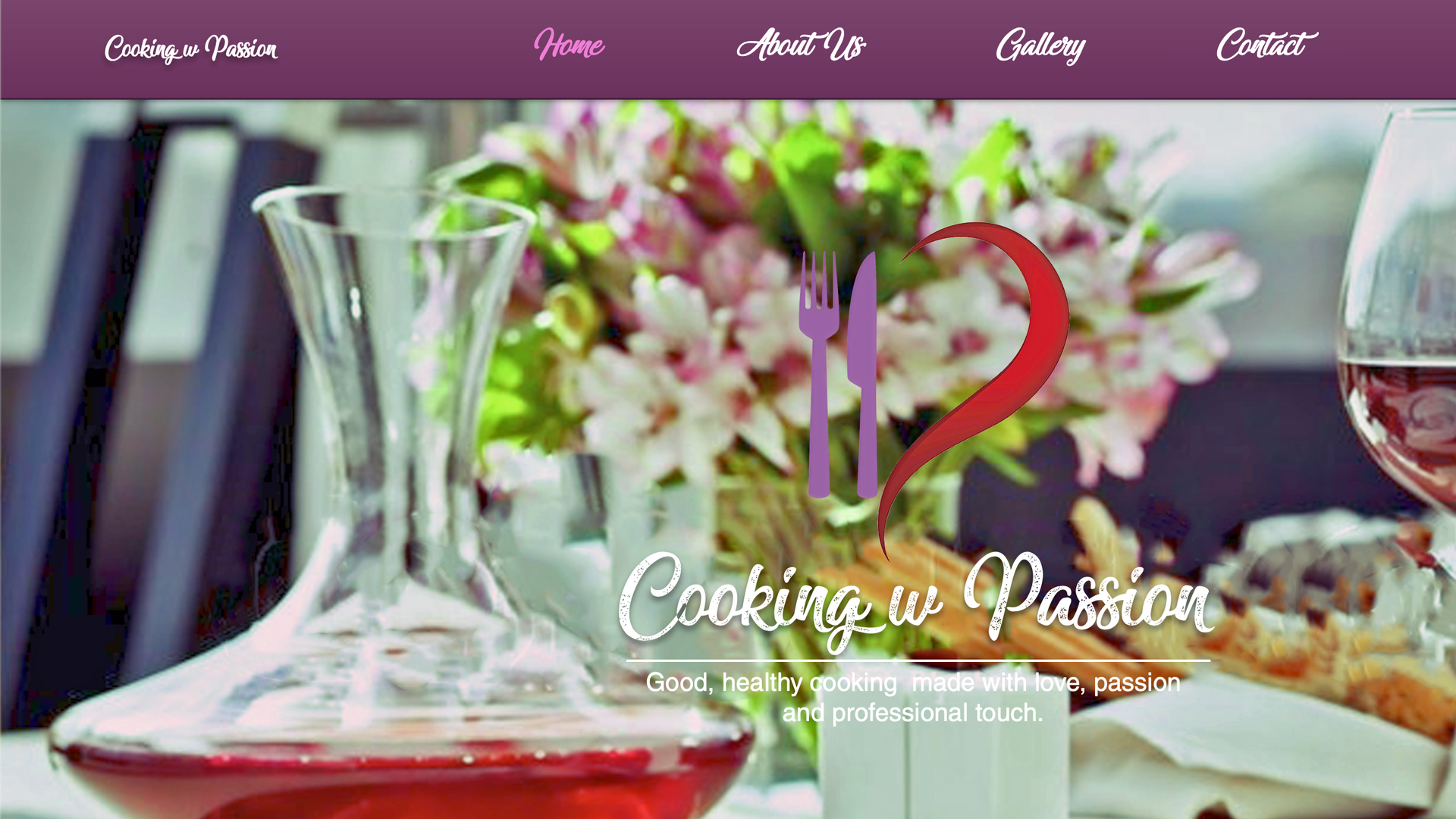 Cooking with passion website design..