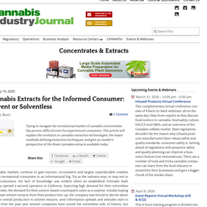 Cannabis Extracts for the Informed Consumer: Solvent or Solventless