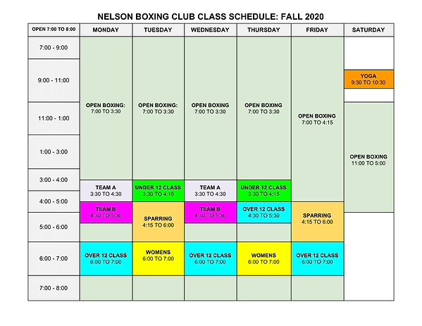 Fall (Nov modification) boxing schedule.
