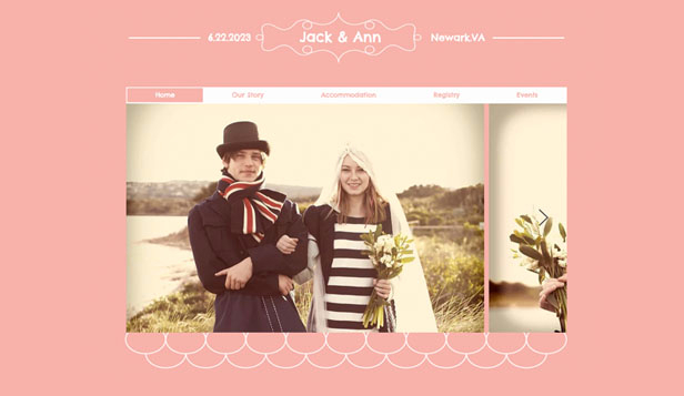 Eventer website templates – Bryllups-hjemmeside