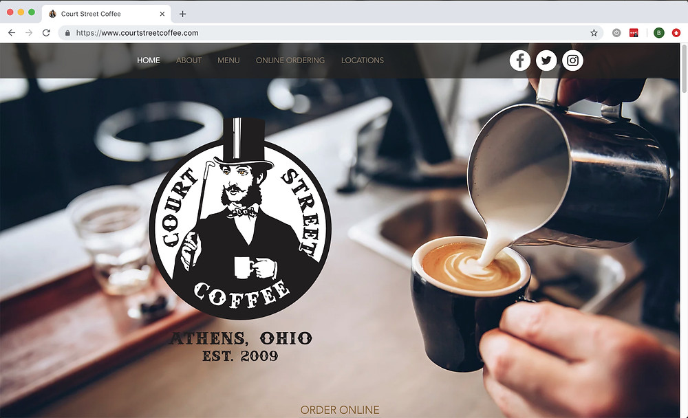 Court Street Coffee's new website - Launched March, 2019