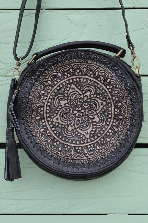 Runde Ledertasche Mandala