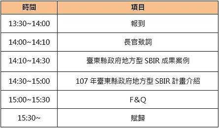 台東SBIR計畫說明會活動流程