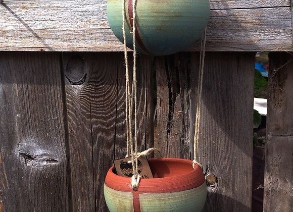2 tiered dusty blue hanging planter