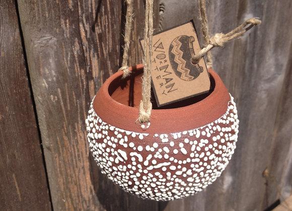 white crackle hanging planter