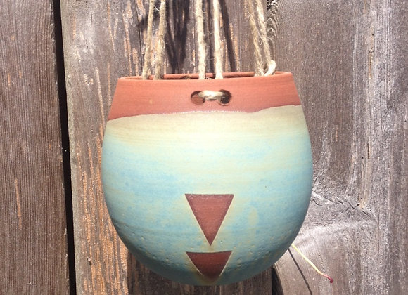 dusty blue triangle hanging planter