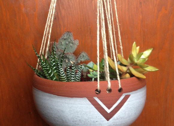 speckled white triangle hanging planter