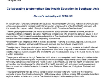 Press Release: Chevron's partnership with SEAOHUN