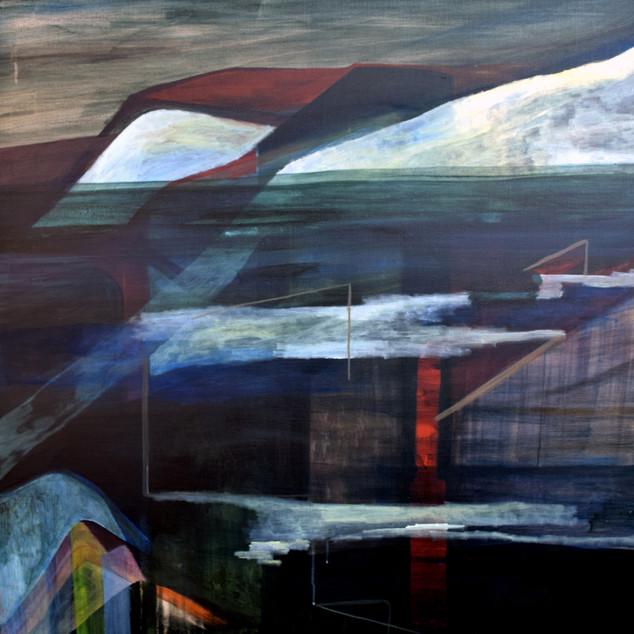Sinking (En train de sombrer), acrylique sur toile, 100x100 cm, 2020