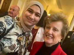 2020 SPU Fox Scholar Gineen Abuali with Mentor Joan Quigley
