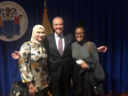 Governor Phil Murphy with 2020 SPU Fox Scholars Gineen Abuali (l) and Barbara Bazemore
