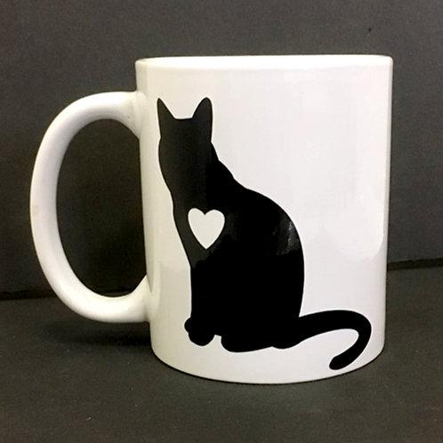 Cat Silhouette  - White Ceramic Mug