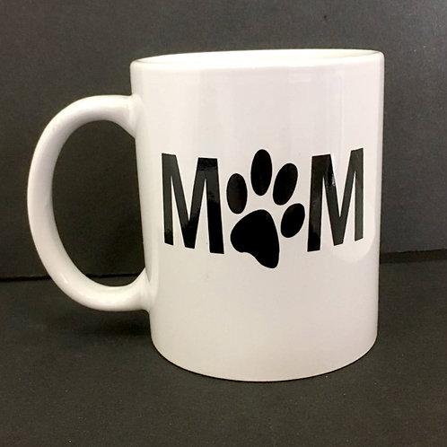 Mom (with paw) - White Ceramic Mug