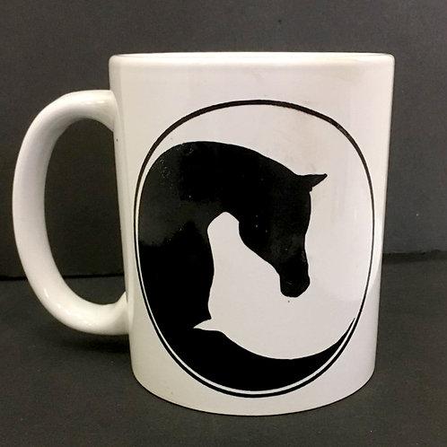 Horse Head Yin Yang  - White Ceramic Mug